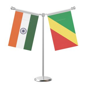 Y Shaped Congo, Republic of (Brazzaville) Table Flag with Stainless Steel Base and Pole
