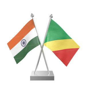 Congo, Republic Of (Brazzaville) Table Flag With Stainless Steel Square Base And Pole