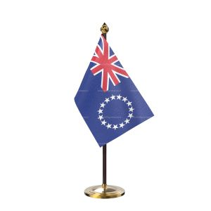 cool island Table Flag With Golden Base And Plastic pole