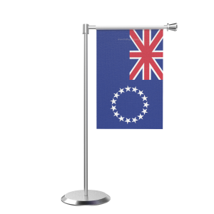 L Shape Table Cool Islands Table Flag With Stainless Steel Base And Pole