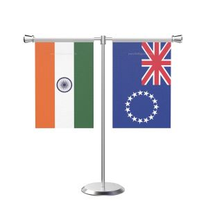 Cool islandsn T shaped Table Flag with Stainless Steel Base and Pole
