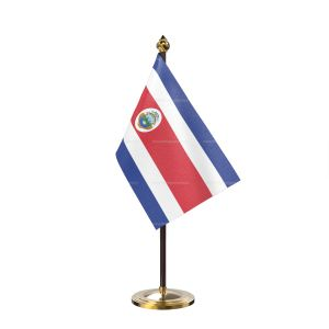 costa rica Table Flag With Golden Base And Plastic pole
