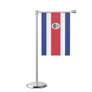 L Shape Table Costa Rica Table Flag With Stainless Steel Base And Pole