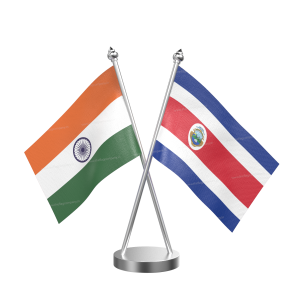 Costa Rican Table Flag With Stainless Steel Base And Pole