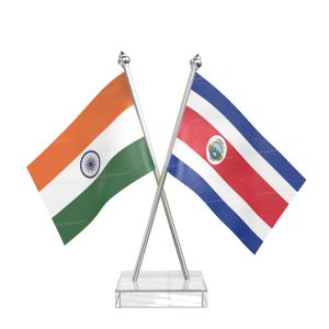 Costa rican Table Flag With Stainless Steel pole and transparent acrylic base silver top