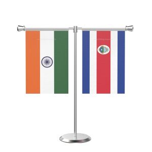 Costa rican T shaped Table Flag with Stainless Steel Base and Pole