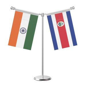 Y Shaped Costa rican Table Flag with Stainless Steel Base and Pole