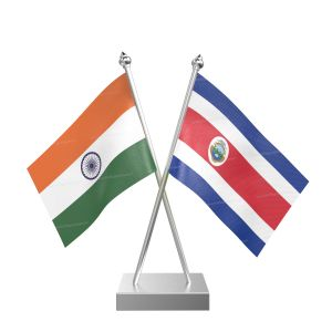 Costa Rican Table Flag With Stainless Steel Square Base And Pole