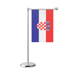 L Shape Table Croatia Table Flag With Stainless Steel Base And Pole