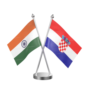 Croatia Table Flag With Stainless Steel Base And Pole