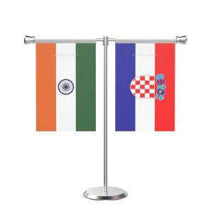 Croatia T shaped Table Flag with Stainless Steel Base and Pole