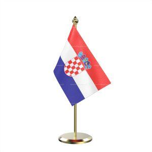 Single Croatia Table Flag With Brass Base And Brass Pole