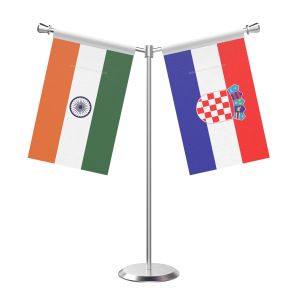 Y Shaped Croatia Table Flag with Stainless Steel Base and Pole