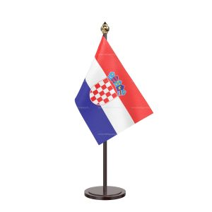 Croatia Table Flag With Black Acrylic Base And Gold Top