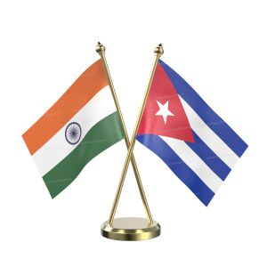 Cuba Table Flag With Brass Base And Brass Pole