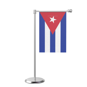 L Shape Table Cuba Table Flag With Stainless Steel Base And Pole