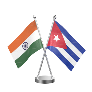 Cuba Table Flag With Stainless Steel Base And Pole