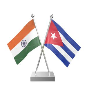 Cuba Table Flag With Stainless Steel Square Base And Pole