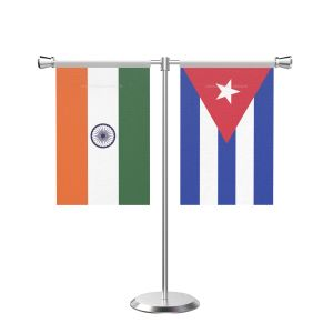 Cuba T shaped Table Flag with Stainless Steel Base and Pole