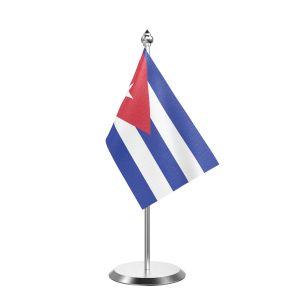 """Single Cuba Table Flag with Stainless Steel Base and Pole with 15"""" pole"""