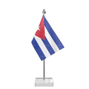 Cuba Table Flag With Stainless Steel Pole And Transparent Acrylic Base Silver Top