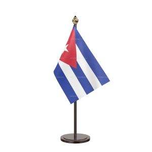 Cuba Table Flag With Black Acrylic Base And Gold Top