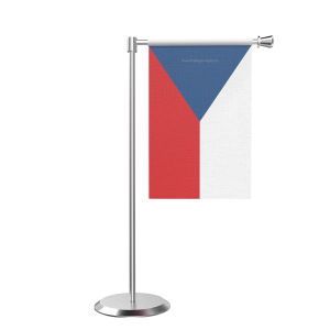 L Shape Table Czech Repub Table Flag With Stainless Steel Base And Pole