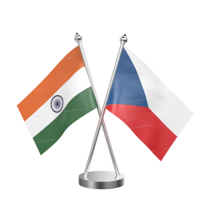 Czech Repub Table Flag With Stainless Steel Base And Pole