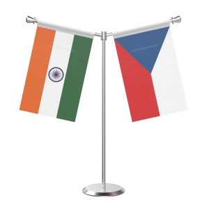 Y Shaped Czech repub Table Flag with Stainless Steel Base and Pole