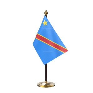 Democratic Republic of the Congo (Kinshasa)n Table Flag With Golden Base And Plastic pole