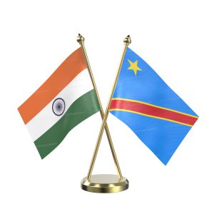 Democratic Republic Of The Congo (Kinshasa) Table Flag With Brass Base And Brass Pole