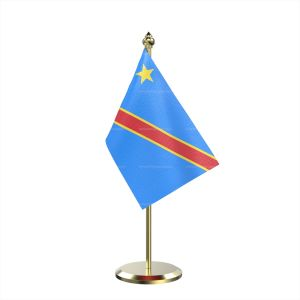 Single Democratic Republic Of The Congo (Kinshasa) Table Flag With Brass Base And Brass Pole