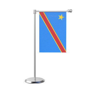 L Shape Table Democratic Republic Of The Congo (Kinshasa) Table Flag With Stainless Steel Base And Pole