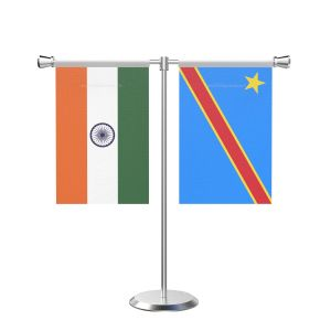 Democratic Republic of the Congo (Kinshasa) T Shaped Table Flag with Stainless Steel Base and Pole