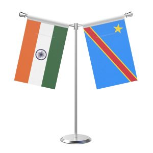Y Shaped Democratic Republic of the Congo (Kinshasa) Table Flag with Stainless Steel Base and Pole