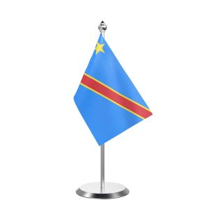 """Single Democratic Republic of the Congo (Kinshasa) Table Flag with Stainless Steel Base and Pole with 15"""" pole"""