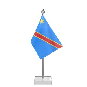 Democratic Republic Of The Congo (Kinshasa) Table Flag With Stainless Steel Pole And Transparent Acrylic Base Silver Top