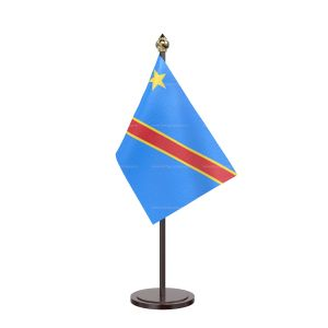 Democratic Republic Of The Congo (Kinshasa) Table Flag With Black Acrylic Base And Gold Top