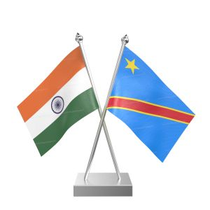 Democratic Republic Of The Congo (Kinshasa) Table Flag With Stainless Steel Square Base And Pole