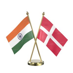 Denmark Table Flag With Brass Base And Brass Pole