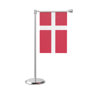 L Shape Table Denmark Table Flag With Stainless Steel Base And Pole