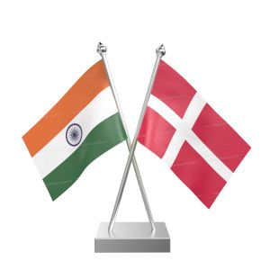 Denmark Table Flag With Stainless Steel Square Base And Pole