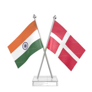 Denmark Table Flag With Stainless Steel pole and transparent acrylic base silver top