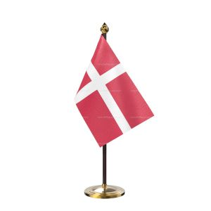 Denmark Table Flag With Golden Base And Plastic pole