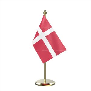 Single Denmark Table Flag With Brass Base And Brass Pole