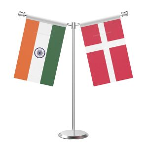 Y Shaped Denmark Table Flag with Stainless Steel Base and Pole