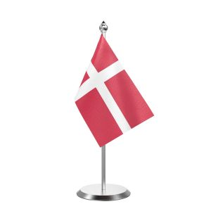 """Single Denmark Table Flag with Stainless Steel Base and Pole with 15"""" pole"""