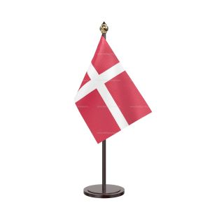 Denmark Table Flag With Black Acrylic Base And Gold Top