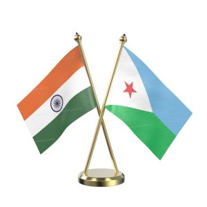 Djibouti Table Flag With Brass Base And Brass Pole