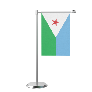 L Shape Table Djibouti Table Flag With Stainless Steel Base And Pole